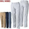 SOWA(桑和)BULL WORKS(ブルワークス) T/Cソフトツイル 制電素材ノータック脇ゴム入りスラックスパンツ【1339】