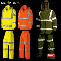 NightKnight(ナイトナイト)高視認性安全レインスーツ(フード付)[上下セット]/タカヤ商事(TAKAYA)【TU-NP40】LOXY採用 ISO 20471準拠 透湿・防水